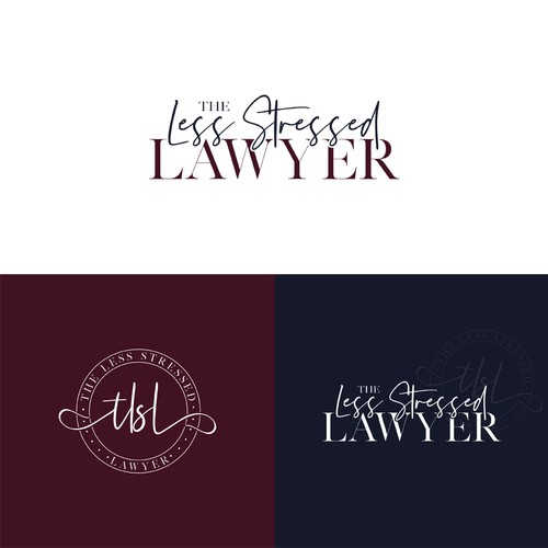 Life coaching logo with the title 'The Less Stressed Lawyer'