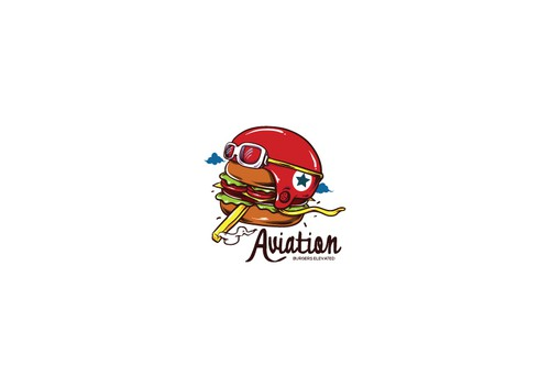 Burger logo with the title 'New Logo For Aviation Restaurant!'