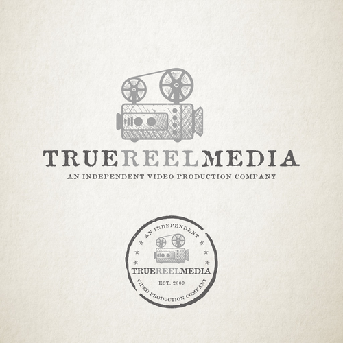 Gray and purple logo with the title 'Rustic Logo for Video Production Company'