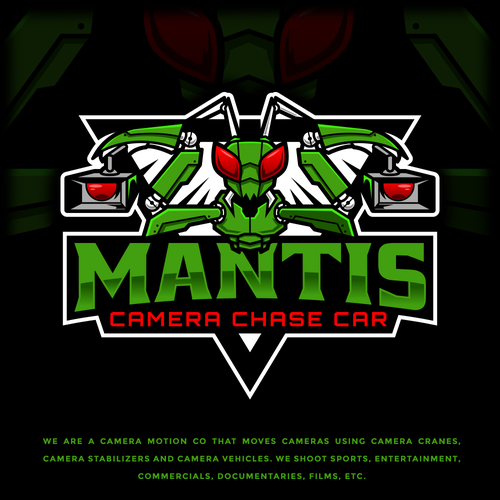 Sports apparel logo with the title 'Mantis Camera Chase Car'