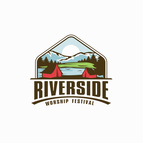 Riverside design with the title 'Design a campy logo for Riverside Worship Festival'