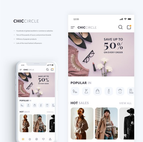 Adobe XD design with the title 'Clean and minimal UI design for fashion app'
