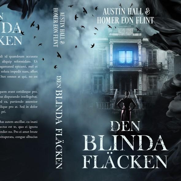 Occult design with the title 'Den Blinda Fläcken - Horror novel'