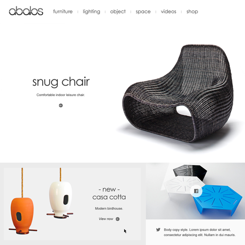Sophisticated website with the title 'Furniture Company Homepage Concept'