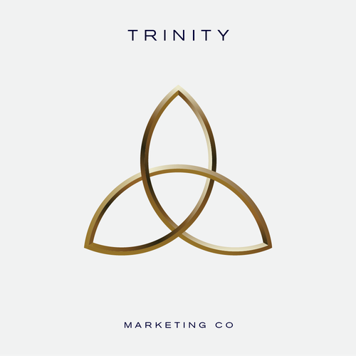 3D gold logo with the title 'A unique illustration of a trinity symbol for an advertising agency'