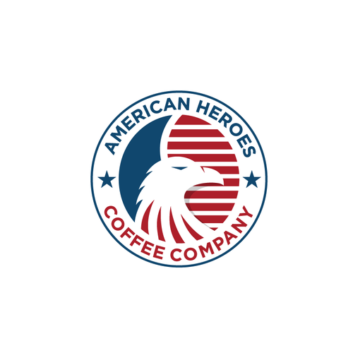 Stripes logo with the title 'Logo for coffe companuy called American Heroes'