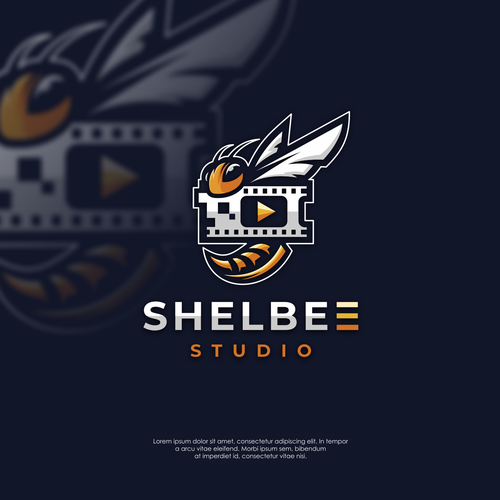 Honey bee logo with the title 'Logo concept for Shelbee Studio'