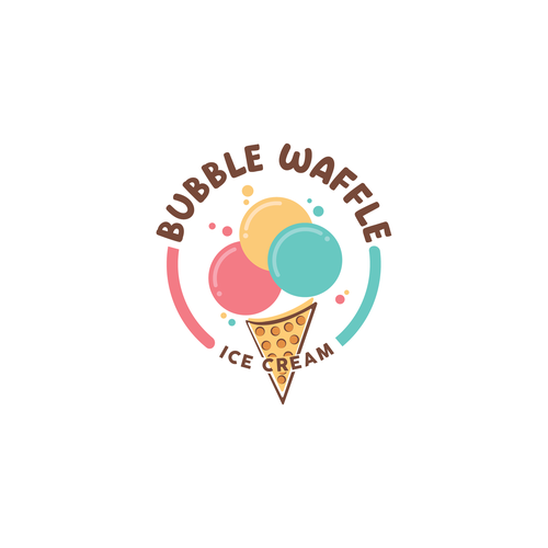 Waffle design with the title 'BUBBLE WAFFLE ICE CREAM LOGO'