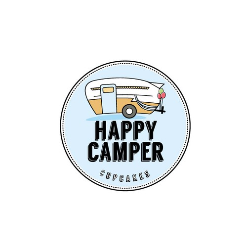 Trailer logo with the title 'Happy Camper Cupcakes'