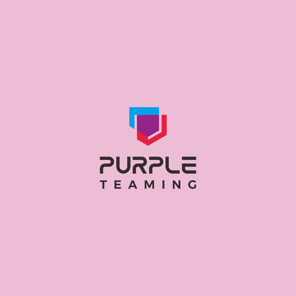 Purple and red logo with the title 'Fun yet serious logo for hackers and defenders team: Purple Teaming'