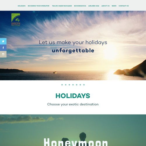 Single page website with the title 'Green Meadows Travel and Tourism'