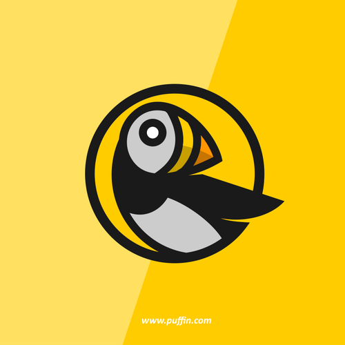 Yellow design with the title 'Help a Puffin that does serious software development get a logo and web site.'