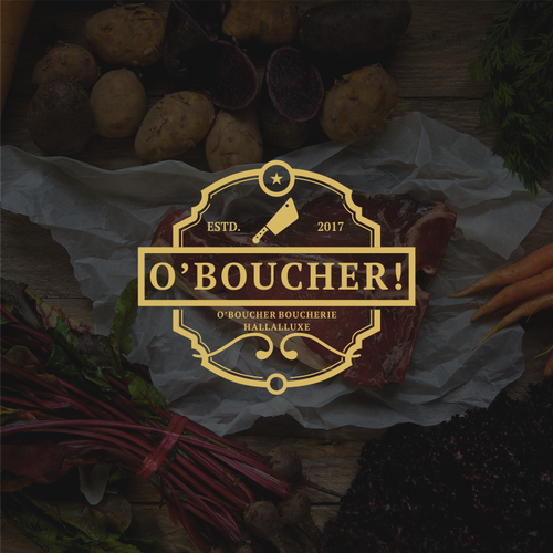 Butcher logo with the title 'logo for french butcher'