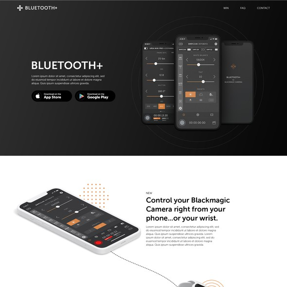Bluetooth design with the title 'Catching One-pager Web Site Design for existing iPhone/Android app'
