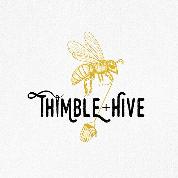 Black and yellow logo with the title 'Thimble + Hive'