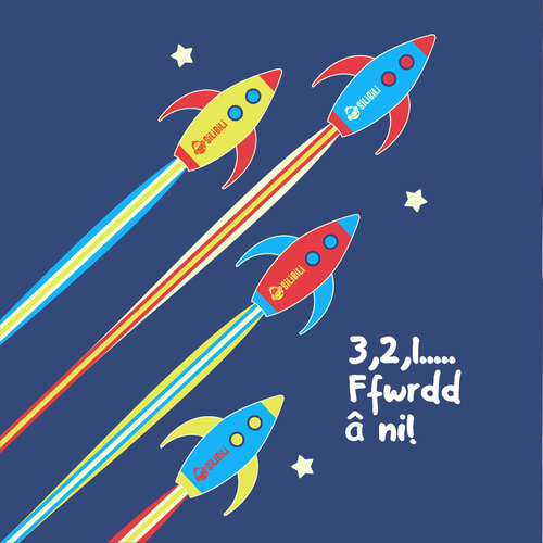 Stripe design with the title 'Space Rocket'