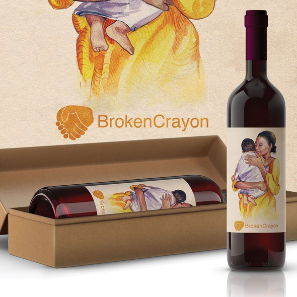 Mother illustration with the title 'Illustration for wine label'