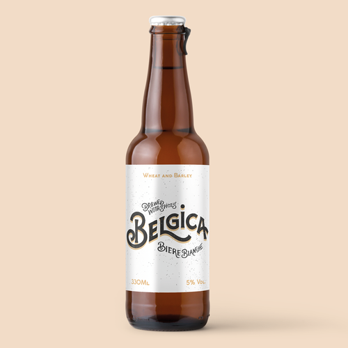 Lettering label with the title 'Belgica | packaging design '