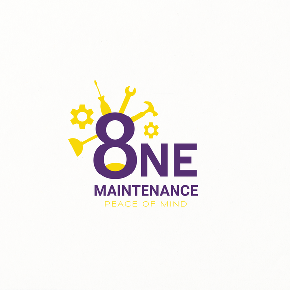 Purple and yellow logo with the title '''8 One Maintenance'' company logo'
