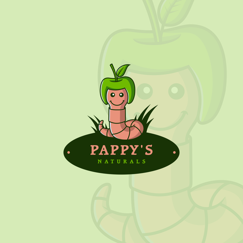 Worm logo with the title 'Pappy's Naturals'