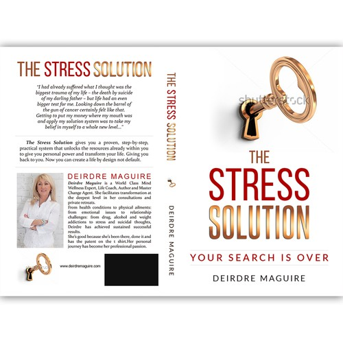 Life coaching design with the title 'Book cover for a book about overcoming the stress in life.'