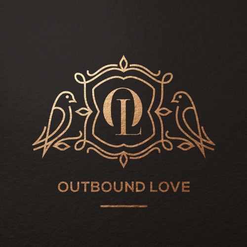 Black and gold logo with the title 'OutboundLove Logo'