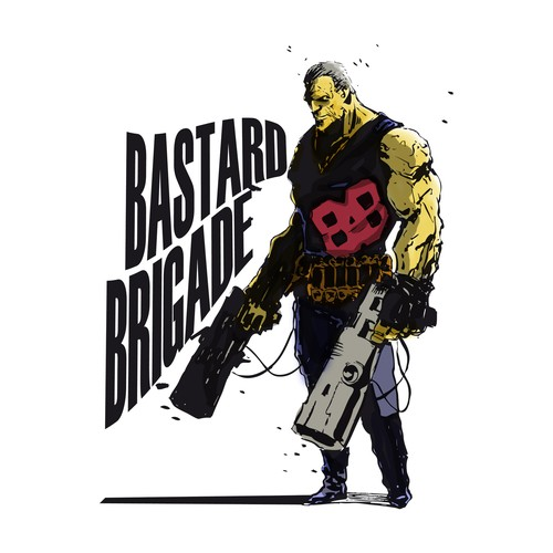 Ink artwork with the title 'illustration for Bastard Brigade'