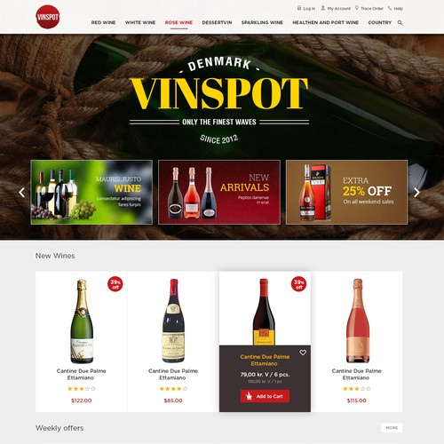 Theme website with the title 'Website Design for Vinspot'