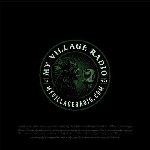 Singer design with the title 'My vilage radio'