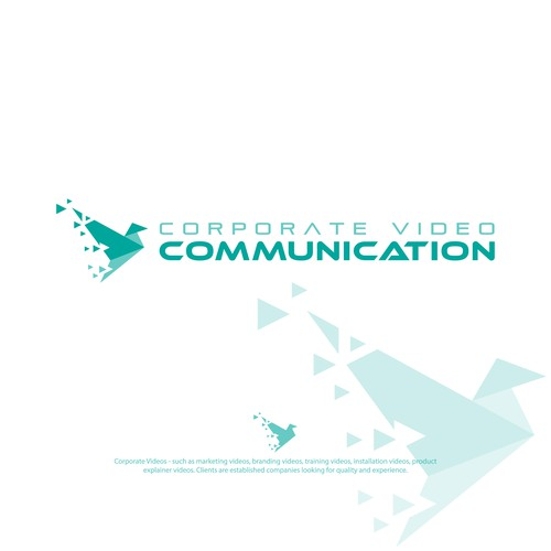 Flying goose logo with the title 'Logo for corporate videos companie'