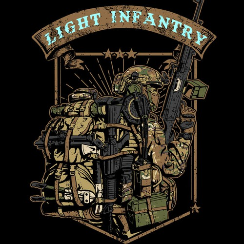 Military t-shirt with the title 'light infantry'