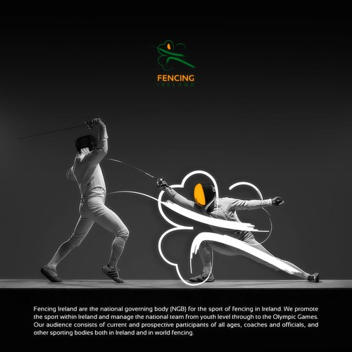 Olympic logo with the title 'Fencing Ireland Logo Design'