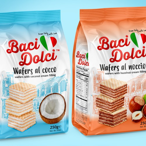 Coconut packaging with the title ' Baci Dolci wafer packaging line'