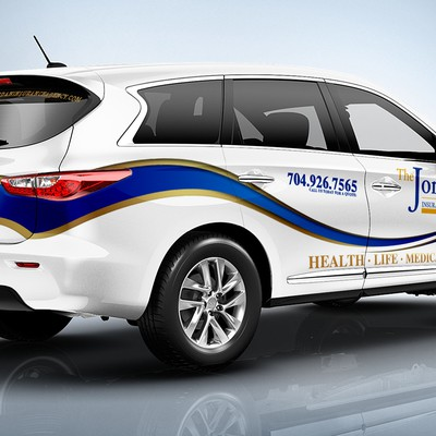 Clean, Innovative,Eye-catching Insurance agency car wrap