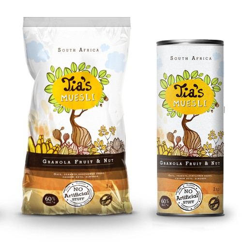 Nut packaging with the title ' Tia's Muesli Packaging design'