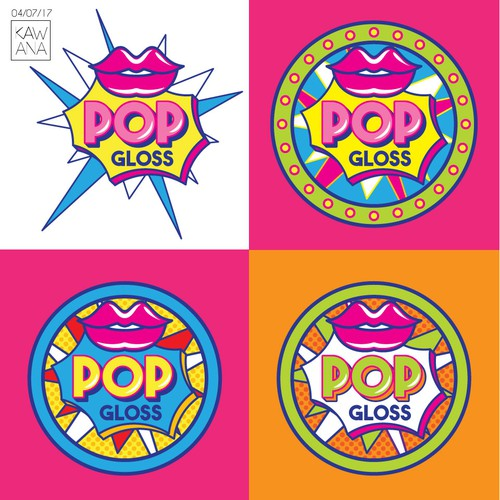 Pop culture logo with the title 'Logo for a lip gloss company: POP Gloss'