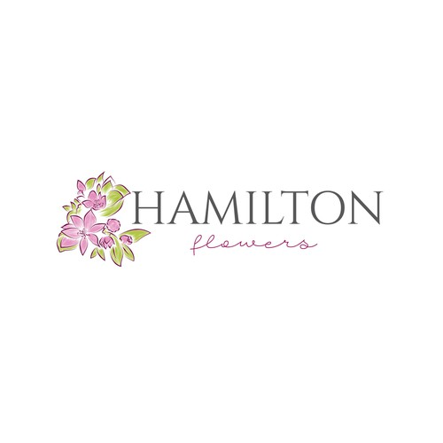 Floral logo with the title 'Blooming logo concept for HAMILTON flowers'