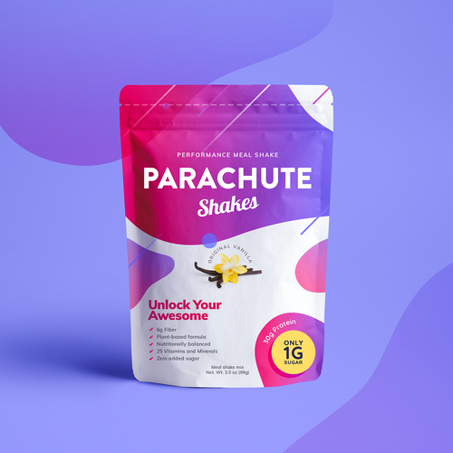 Purple packaging with the title 'Meal Shake Design Concept'