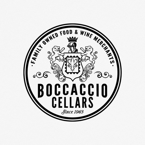 Coat of arms logo with the title 'Create a new logo for Boccaccio Cellars'