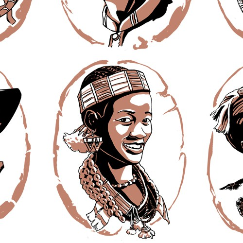 Coffee illustration with the title 'Ethnic Faces'
