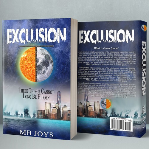 Dystopian book cover with the title 'Exclusion'