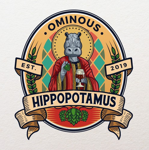 Saint logo with the title 'Ominous Hippopotamus'