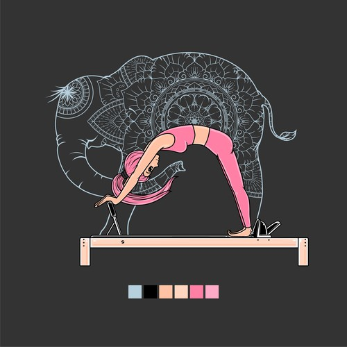 Elephant t-shirt with the title 'T-shirt design for Pilates Elephant'