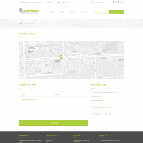 Contact design with the title 'Ecommerce site design for a locally-owned print shop - Contact page'