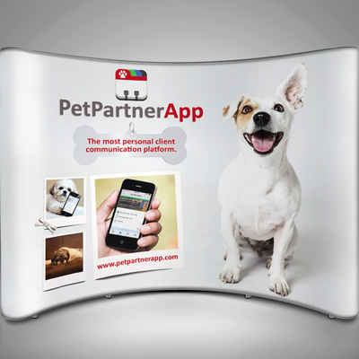 Create a high impact tradeshow booth design involving cute-as-all-get-out dogs