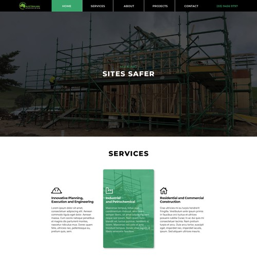Green website with the title 'Sleek web design for Scaffolding company'