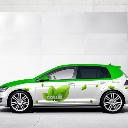 VW design with the title 'Go Green wrap for GOLUB taxi'