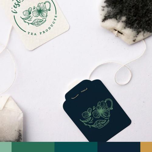 Teal design with the title 'Logo Design for C'est La Tea'