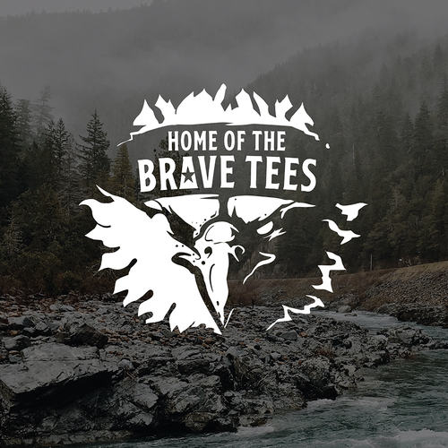 American vintage logo with the title 'HOME OF THE BRAVE TEES'