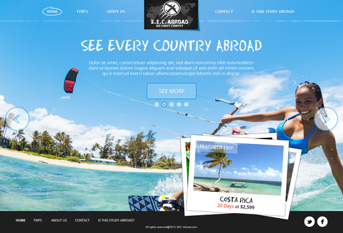 "Sophisticated website with the title 'See Every Country Abroad (""SEC Abroad"") needs a new website design'"